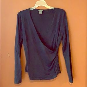 Ann Taylor navy blue criss cross shirt sz M